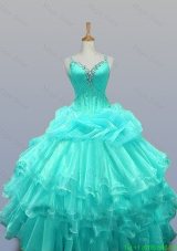 Decent Straps Quinceanera Dresses with Beading and Ruffled Layers