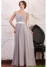 Grey Chiffon Empire Square Mother of the Bride Dress with Beaded Cap Sleeves