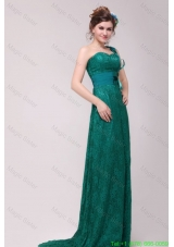 Informal Column One Shoulder Floor Length Lace Green Mother of the Bride Dresses
