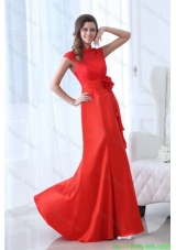 Modern Column Red Floor Length Lace Mother of the Bride Dress with High Neck