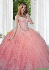 Modern Watermelon Quinceanera Dresses with Beading and Ruffles