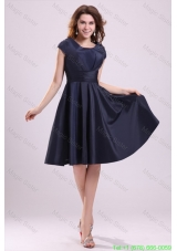 Navy Blue Scoop Short Prom Dress with A Line Knee Length