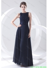 2016 Navy Blue Prom Dress with Lace Bateau Black Empire Chiffon