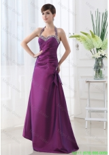 Eggplant Purple Halter Top Beading and Ruching Taffeta A Line Mother of the Bride Dress