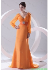 Empire Orange V Neck Long Sleeves Mother of the Bride Dress with Beading Ruching