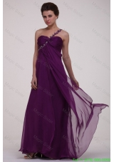 Empire Purple One Shoulder Ruching Appliques Long Mother of the Bride Dress