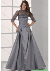 Grey A Line Scoop Half Sleeves Prom Dress with Appliques and Beading