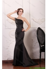 Mermaid One Shoulder Black Beading Taffeta Mother of the Bride Dress