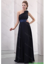 Navy Blue Empire One Shoulder Mother of the Bride Dress with Beading and Flower