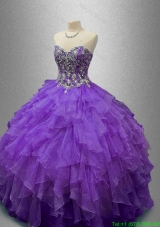 New Style Purple Quinceanera Gowns with Beading and Ruffles