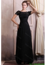 Scoop Empire Chiffon Brush Train Black Mother of the Bride Dress with Appliques