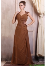 V Neck Column Chiffon Appliques with Beading Mother of the Bride Dress in Brown