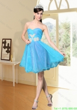 2016 Spring Cool Aqua Blue Sweetheart Prom Dress with Beading