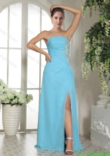 2016 Spring Empire High Slit Strapless Baby Blue Prom Dress with Ruches and Appliques