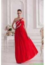2016 Spring Empire One Shoulder Floor-length Beading Red Prom Dress