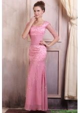 Rose Pink Square Appliques Column Chiffon Half Sleeves Mother of the Bride Dress