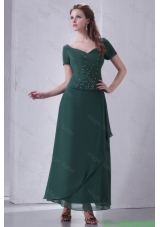 V Neck Chiffon Beading Ankle Length Mother of the Bride Dress with Short Sleeves