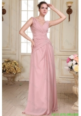 V Neck Floor Length Ruche Decorate Empire Chiffon Mother of the Bride Dress