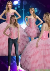 2015 Delicate Sweetheart Baby Pink Sweet 16 Dress with Beading
