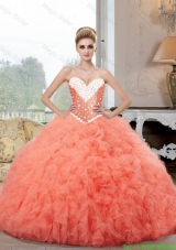 2015 Pretty Ball Gown Watermelon Sweet 16 Dresses with Beading