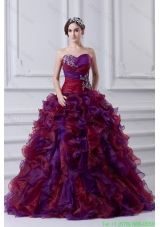 2016 Multi-color Sweetheart Ball Gown Beading  Sweet 16 Dress with Ruffles