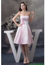 2016 Spring Baby Pink Sweetheart Knee-length Prom Dress with Handmade Flower