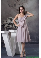 2016 Spring Gray One Shoulder Ankle-length Ruching and Layers Decorated Prom Dress