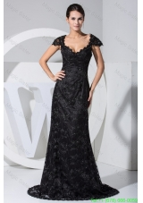 Black Lace Flowers Cap Sleeves Scoop Mother of the Bride Dresses with Sweep Train