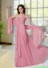 Cheap Beading One Shoulder Empire Mother of the Bride Dress in Pink