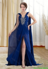 Chiffon Royal Blue Beaded and Ruched Mother of the Bride Formal Dress with Watteau Train