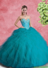 Classical Beaded Sweetheart Sweet 16 Dresses with Ruffles