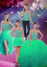 Formal Sweetheart Beaded and Ruffles Detachable Quinceanera Dresses in Apple Green