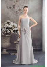 Half Bowknot and Beading Accent Ruched Grey Mother of the Bride Dress