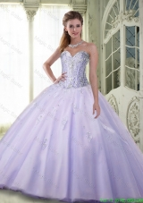 Luxurious Beaded Sweetheart Sweet 16 Dresses in Lavender for 2015