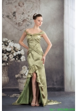 Off the Shoulder Olivaceous High Low Flounced Mother of the Bride Formal Dress