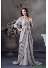 Ruffled and Beaded Grey Mother of the Bride Dress with Court Train