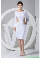 Scoop Sheath Back Out Long Sleeves Mother of the Bride Gown with Cutout Waist