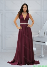 Sexy Burgundy Empire Chiffon Mother of the Bride Dress with Brush Train