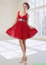 Simple Sequined Empire Straps Mini Length Mother of the Bride Dresses in Red