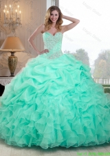 Summer Pretty Beaded and Ruffles Sweet 16 Dresses in Apple Green