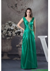 Teal V Neck Ruching Mother of the Bride Dress with Beaded Appliques for Party