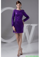 Bateau Long Sleeves Eggplant Purple Sequined Mother of the Bride Dresses