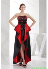 Black and Red Sweetheart High Low Mother of the Bride Dress with Bow