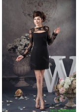 Black Chiffon and Lace Mother of the Bride Dress with Long Sleeves