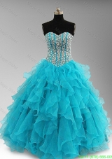 Elegant Beaded and Ruffles Sweet 16 Dresses in Aqua Blue
