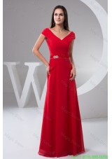 Ruched Off the Shoulder Red Floor Length Mother of the Bride Holiday Dress