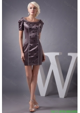 Scoop Mini Mother of the Bride Dress with Beading and Short Sleeves