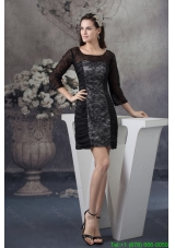 Scoop Neck Black Lace Mini Mother of the Bride Dress