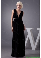 V Neck Black Floor Length Mother of the Bride Dress with Cut Out Waist