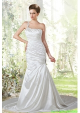 Beautiful Mermaid One Shoulder Wedding Dress with Ruching